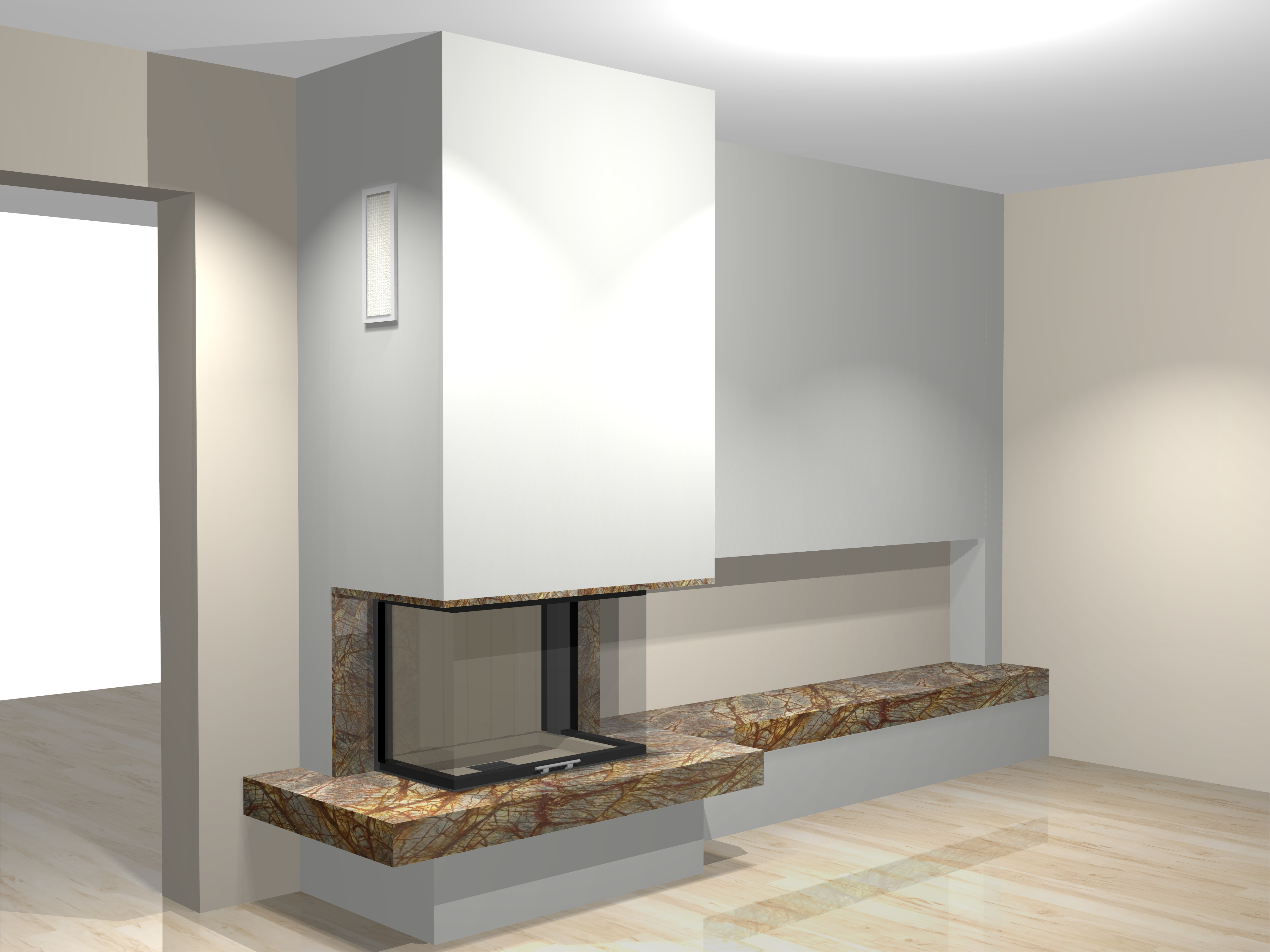 dreiseitiger kamin a 40 1 mit spartherm mit montage www. Black Bedroom Furniture Sets. Home Design Ideas