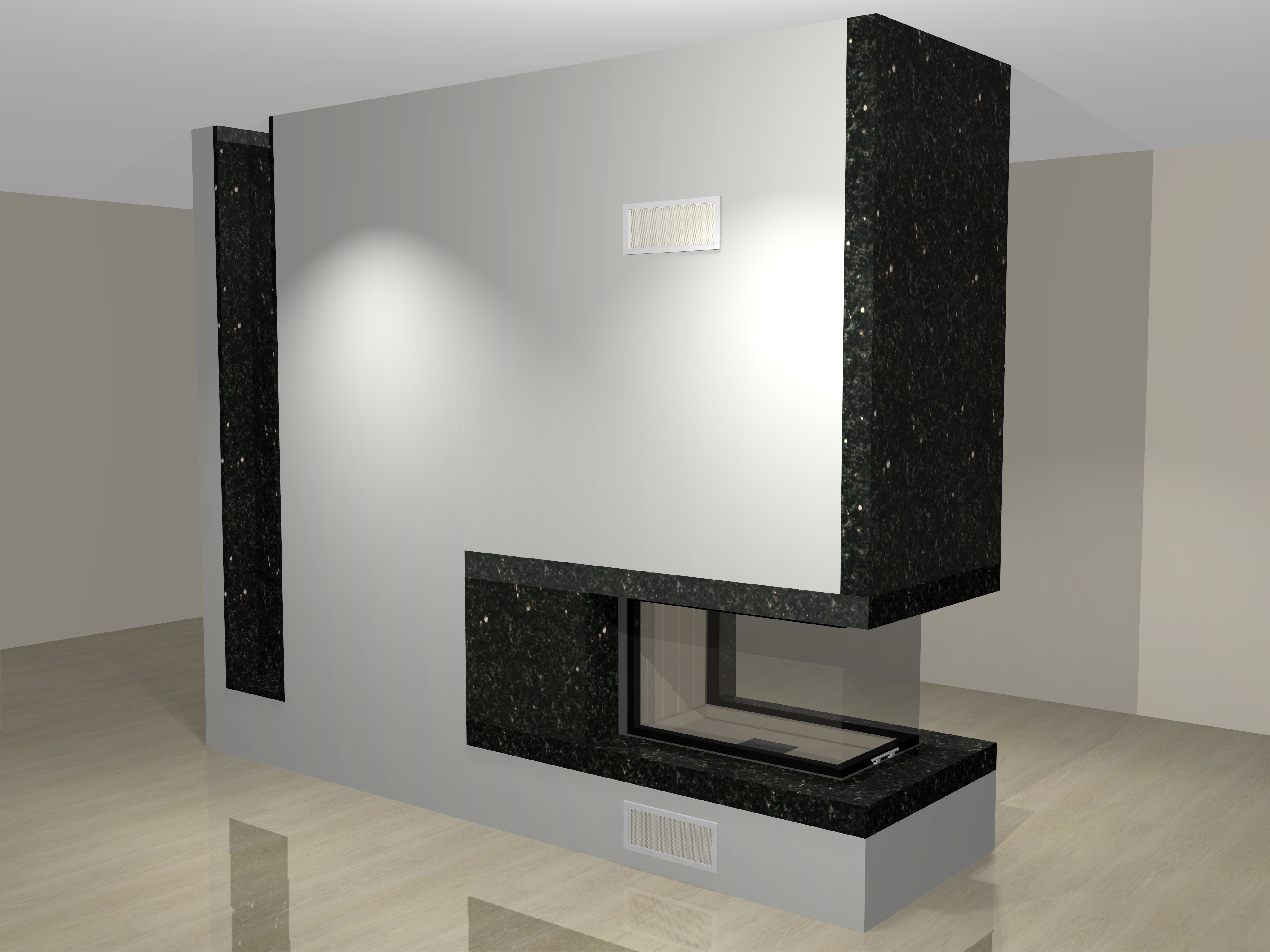 dreiseitiger kamin a 33 2 mit spartherm mit montage www. Black Bedroom Furniture Sets. Home Design Ideas
