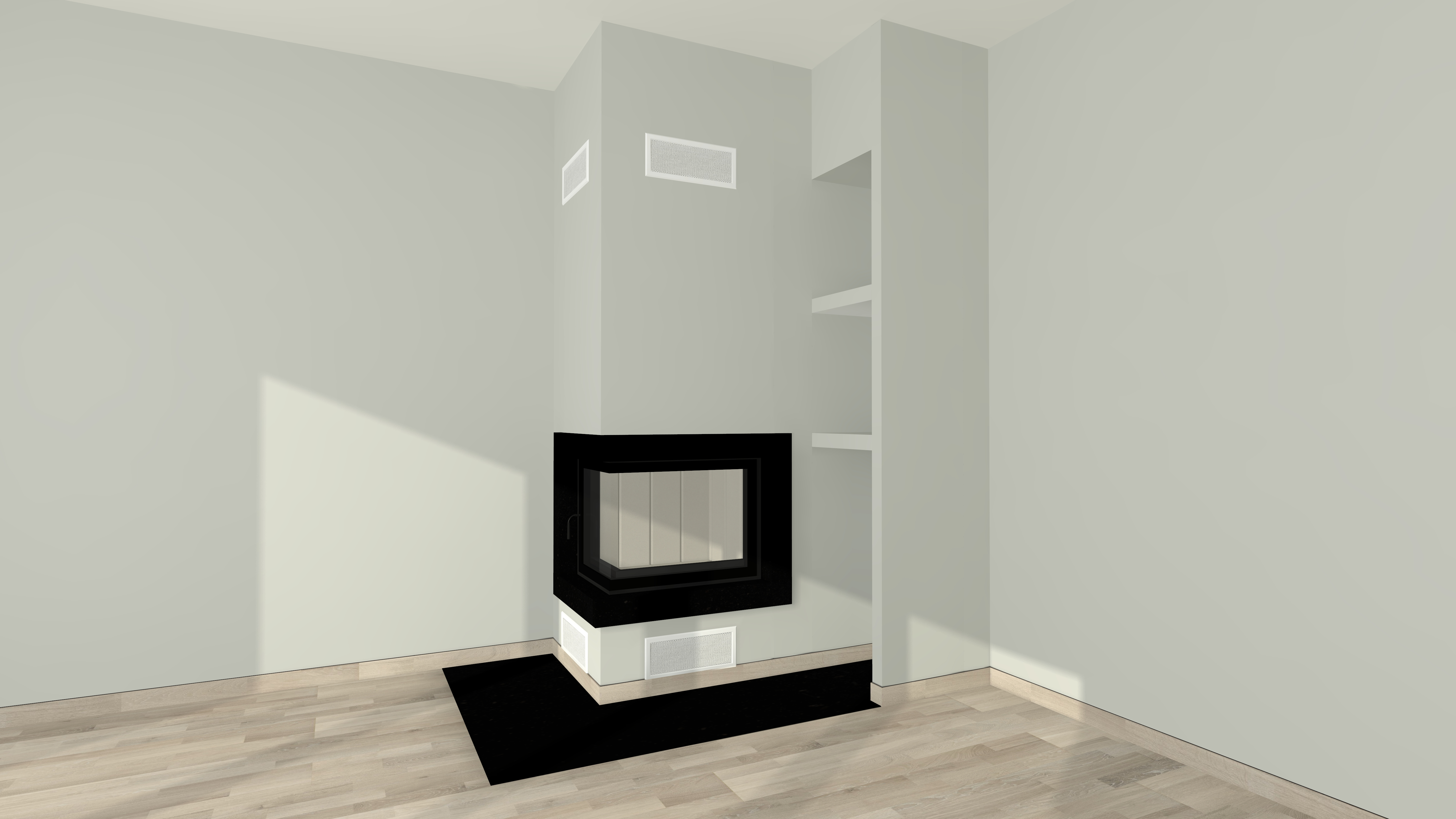 eckkamin modern a 09 4 mit spartherm mit montage www. Black Bedroom Furniture Sets. Home Design Ideas