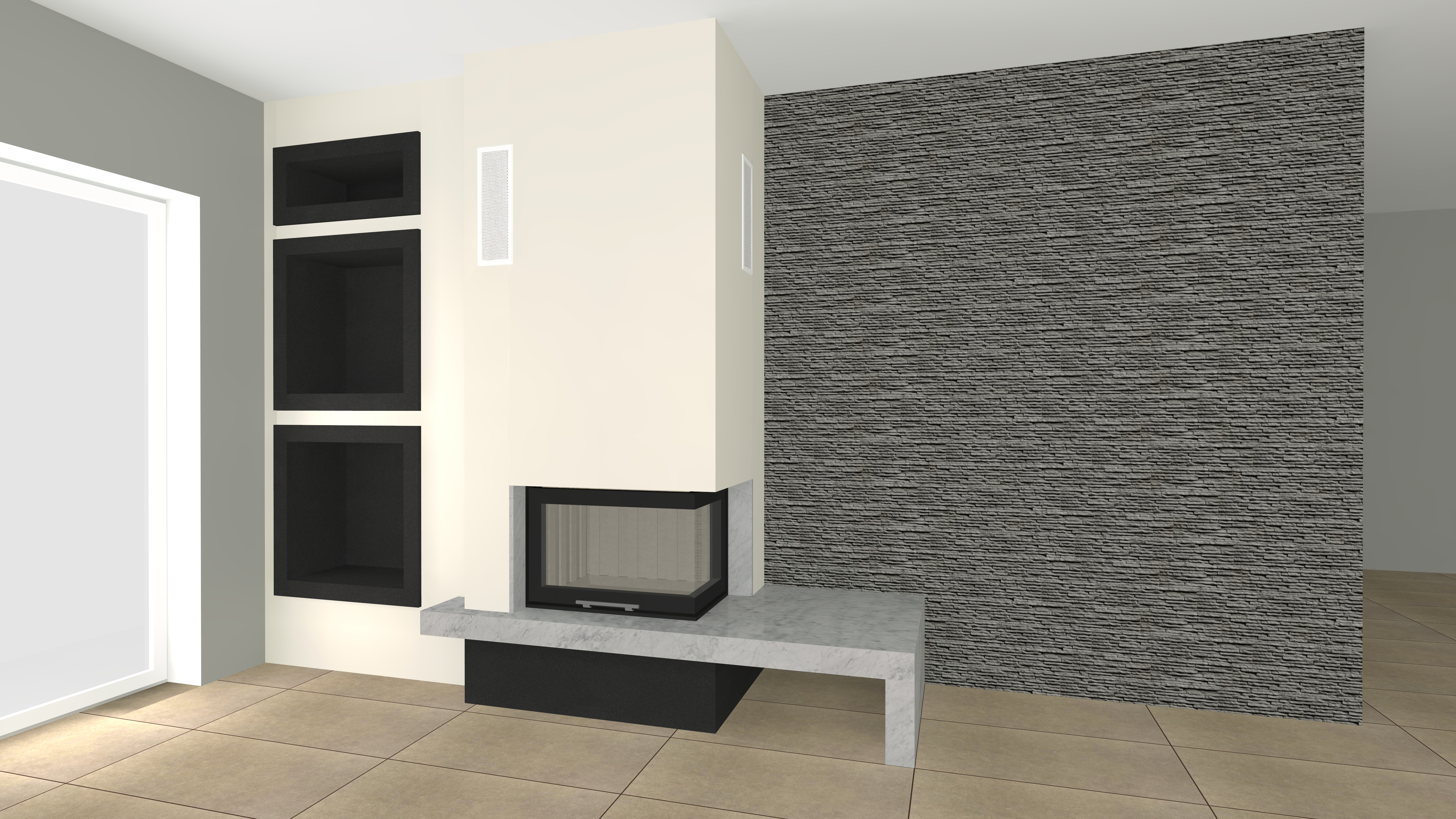 eckkamin modern a 17 3 mit spartherm mit montage www. Black Bedroom Furniture Sets. Home Design Ideas