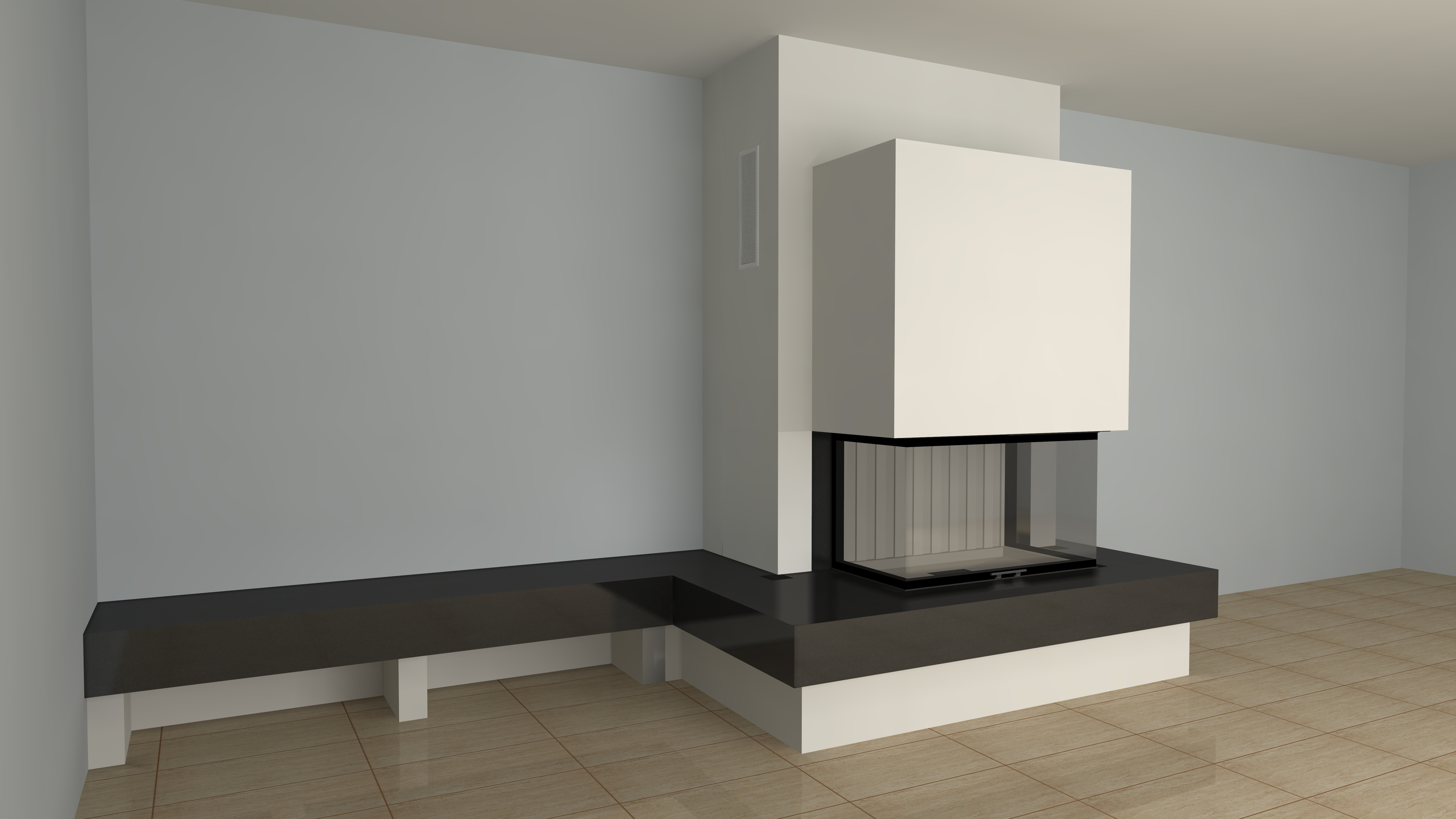 dreiseitiger kamin a 40 2 mit spartherm mit montage www. Black Bedroom Furniture Sets. Home Design Ideas
